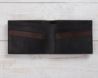 Minimalist Wallet, Black Wallet, Leather Wallet, Mens Wallet, Bifold, Mens Personalized Wallet, Engraved Wallet, Card Holder Wallet, Wallet