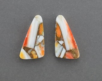 Orange Spiney Oyster with Bronze Cabochon Pair