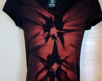 Cool, orange-black rock-style hand dyed T-shirt size S