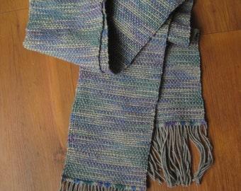 156 - Silver Jewel Tone Wool Scarf
