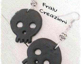 Polymer clay skull earrings