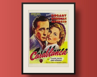 Vintage Movie Poster Print - Humphrey Bogart, 'Casablanca' (Belgian Release)