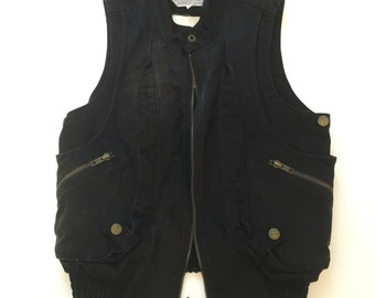 Black moto motorcycle cotton jean Vest Current / Elliott size xs grunge punk