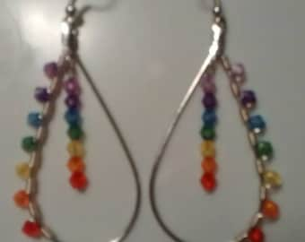 Rainbow/chakra teardrop dangling earrings