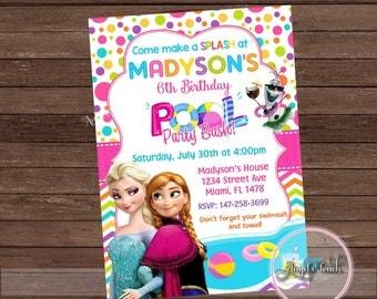 Frozen Pool Party Invitation, Disney Frozen  Birthday Party Invitation, Frozen Pool Birthday Party Invitation, Frozen Party, Digital File.