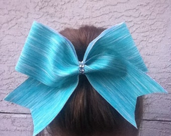 Sports print mint cheer bow with bling!