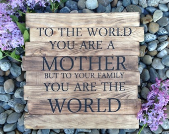 Mother's Sign, To the World You are a Mother to Your Family you are the World