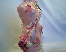 One-of-a-Kind Art Piece, Handcrafted Gift for Girl, Pink Pearl Altered Dress Form, Decorative Jewelry Stand
