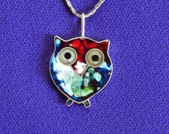 Owl Silver 950 necklace/Free Shipping USA/Resine Owl handmade jewelry/Organic Owl shape/resin colours