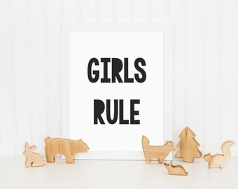 Girls Rule Print, Kids Print, Kids Bedroom Print, Childrens Wall Art, Nursery Art, Monochrome Print, Wall Decor, Black and White Print