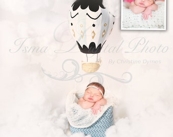 Download Beautiful Digital Newborn Prop ( air balloon ) with clouds.