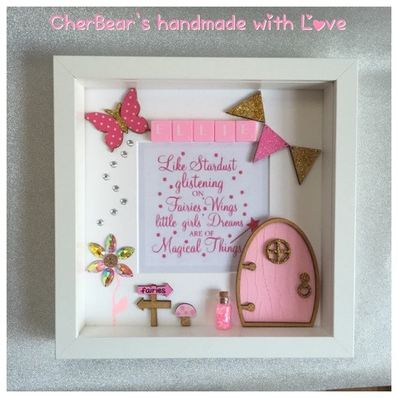 Fairy door frame personalised gift for her little for Fairy door wall art