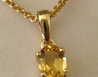 Genuine SOLID 9K 9ct YELLOW GOLD November Birthstone Citrine Pendant