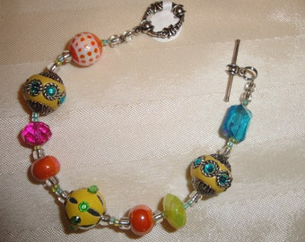Glass and multi-style beads toggle clasp 7.5""