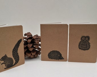 Woodland Animals A6 Handprinted Notebooks