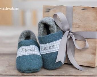 Baby Boy Shoe - jeans blue / grey