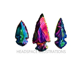 Crystal Arrowheads Art - Colored Pencil Print by Headspace Illustrations