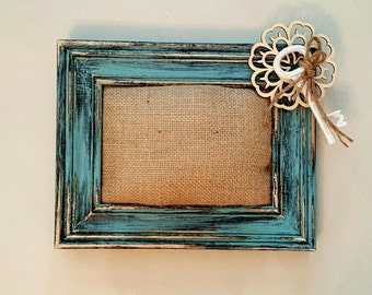 Shabby Chic Picture Frame Rustic Distressed Wood Pin-Cushion Picture Frame Home Decor Wall Decor Wedding Gift