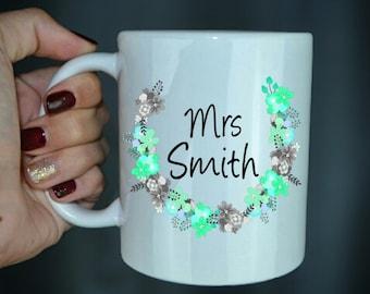 Custom Mrs Coffee Mug - Wedding Gift For Her - Wedding Gift - Cute Coffee Mug - Newlywed Gift - Bride Gift - Bridal Shower - Wife To Be