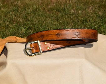 Tooled Leather Belt 10.