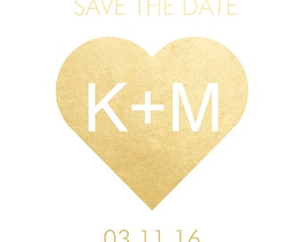Semi-custom HEART INITIALS metallic temporary save the date wedding Flash Tattoos-use for invitations, engagement showers & party favors