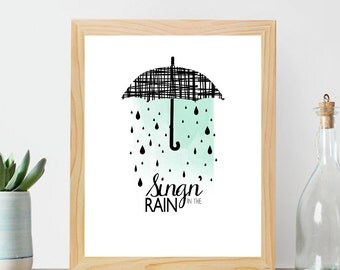 Rain cloud art, Singing in the rain, Rain art, Rain print, Wall decor, Nursery art