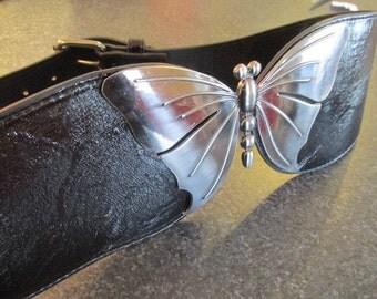Big butterfly black patent leather belt vintage 90s retro.