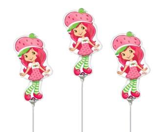 FAST SHIP Strawberry Shortcake Birthday Balloons Cup and Stick Included, Strawberry Shortcake Centerpieces,  Birthday Party Favors