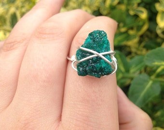 Hand wire wrapped dioptase ring size 7