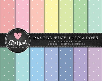 14 Pastel Tiny Polkadot Papers, Commercial use, Digital Paper, Pastel digital scrapbooking paper