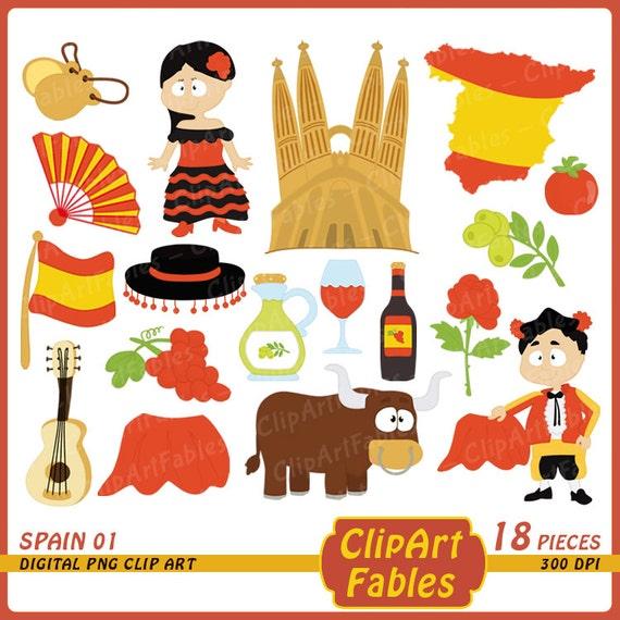 SPAIN Clip Art Cute Toreador Clipart Spanish Guitar Travel European Theme