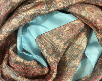 Vintage Paisley Pure Silk large scarf, 1980s, Made in Italy