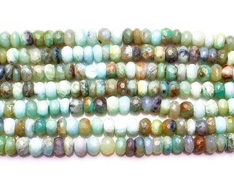 Sky Blue Peruvian Opal Faceted Rondelle Beads