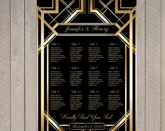 PRINTABLE Great GatsbyWedding Seating Chart gold art deco , Modern Wedding Table seating assignment, Gold table plans , Your Seat | WDC168