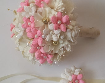 Bride bouquet. Paper flower bouquet, crepe paper flower, bridesmaid bouquet, crepe paper flowers, Wedding paper bouquet, Paper Flowers