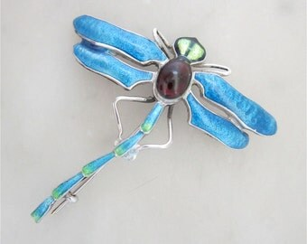 Lovely Art Nouveau Style Sterling Silver and Enamel Dragonfly Brooch/Pin.