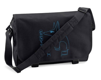 Messenger Bag Anubis - personalized with your name in hieroglyphs