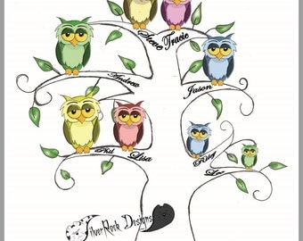 Owl Family Tree, Personalised Picture