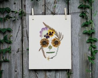 Hand-Pressed Floral Skulls