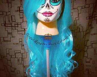 Aqua Goddess Wig Long Curly Blue
