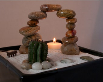 """Zen Garden with Living Cactus and Stone Arch. One-of-a-kind! 10 of 60 in the """"Biophilia"""" series. Feng Shui. Desk Art"""
