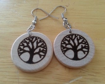"Wood 1"" Round shape Tree of Life earrings, surgical steel fish hook, essential oil diffuser"
