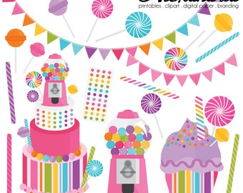 Candy Shoppe Digital Clipart - Personal & Commercial Use - Sweet Shop Clipart, Candy Land Graphics, Rainbow Images