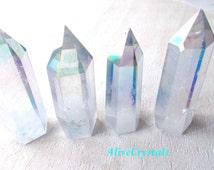Angel Aura Quartz Crystal Points, Rainbow Aura Quartz Crystals for Crystal Healing, Crystal Crown or Crystal Grid