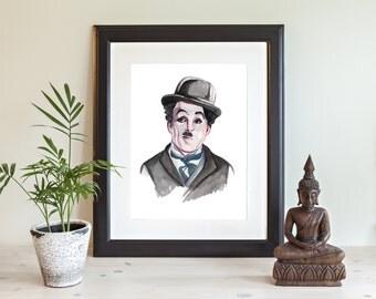 Charles Chaplin Illustration Print, Giclee Print, , Watercolor Print. Chaplin