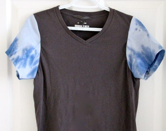 Grey V-Neck T-Shirt with Blue Tie-Dye Sleeves
