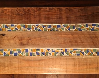 Custom wood and mosaic serving tray