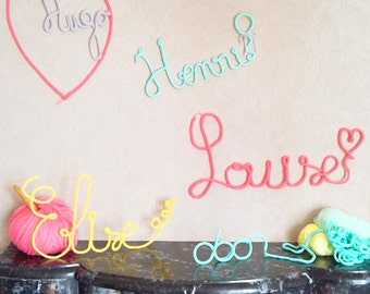 Names / words in knitting for wall decoration, price / letter