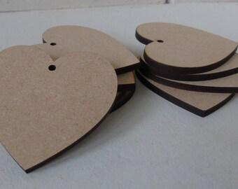 10 (4cm) Wooden Heart Shape Craft Tag Wedding embelishment
