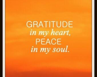 gratitude quote print, instant digital download, printable quote, printable art, sunset photography, typography print, orange print, quote